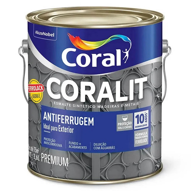 CORALIT ANTIFERRUGEM PRETO 3,6L (FERROLACK) CORAL 5203032