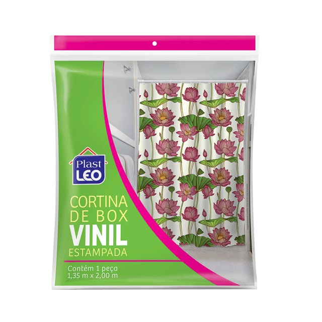 CORTINA PARA BOX EM VINIL ESTAMPADA 1,35X2M E GANCHOS REF.604 PLAST LEO
