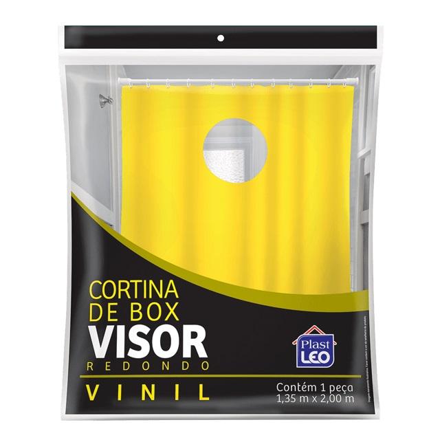 CORTINA PARA BOX EM VINIL LISA 1,35X2M COM VISOR REDONDO TRANSPARENTE E GANCHOS REF.608 PLAST LEO