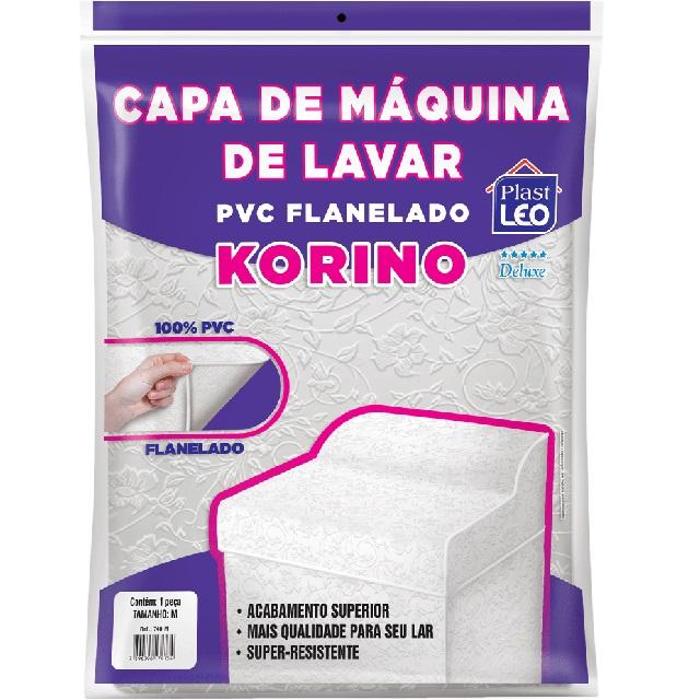 CAPA PARA MÁQUINA DE LAVAR EM PVC FLANELADA KORINO LISA-LISA TAM.M 62X65X91CM REF.740/M PLAST LEO