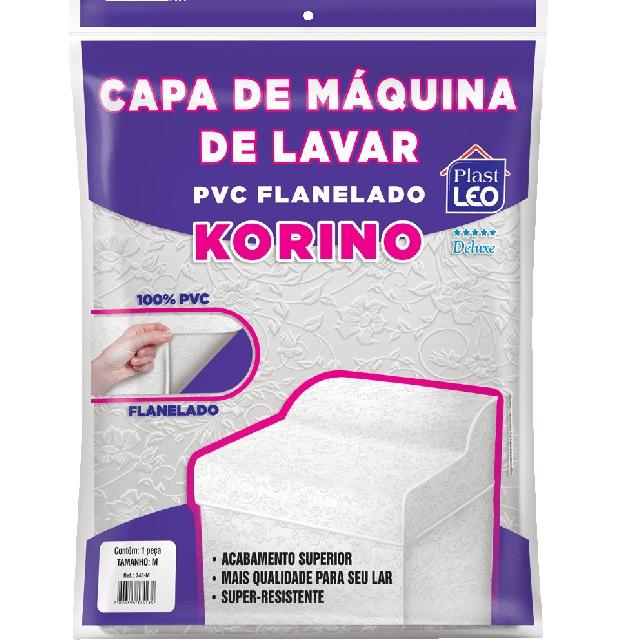 CAPA PARA MÁQUINA DE LAVAR EM PVC FLANELADA KORINO LISA-LISA TAM.G 69X66X91CM REF.740/G PLAST LEO