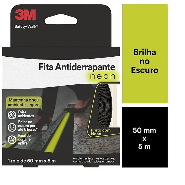 FITA ANTIDERRAPANTE NEON 50MMX5M PRETO COM NEON (ROLO) 3M SAFETY-WALK