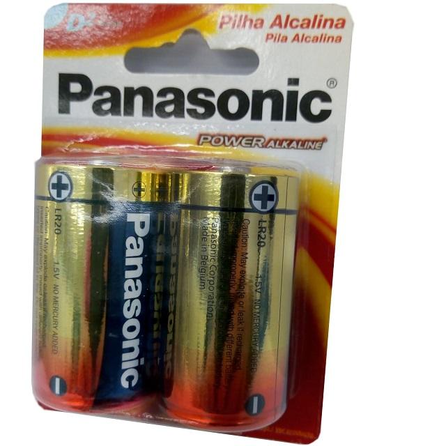 PILHA GRANDE D POWER ALKALINE (C/2) PANASONIC