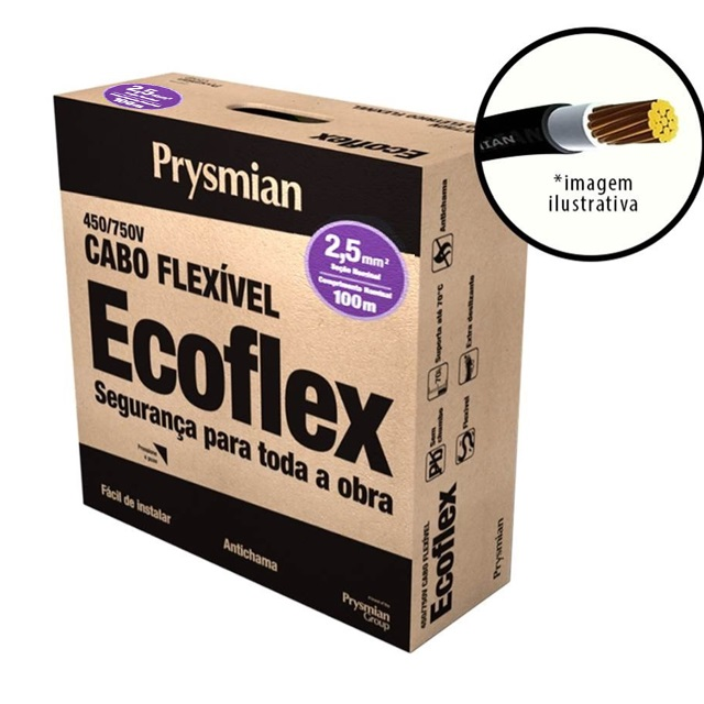 CABO ECOFLEX  2,5MM2 AZUL PC100  PRYSMIAN 750V