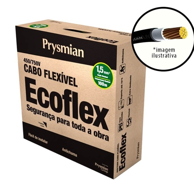 CABO ECOFLEX  1,5MM2 AM./VD. PC100  PRYSMIAN 750V