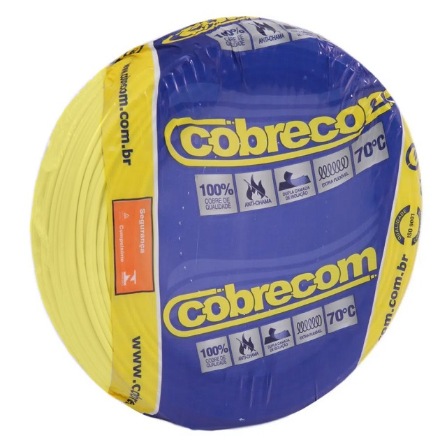 CABO 2,5MM² 750V FLEXICOM PEÇA COM 100 METROS AMARELO COBRECOM