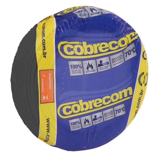 CABO 2,5MM² 750V FLEXICOM PEÇA COM 100 METROS PRETO COBRECOM