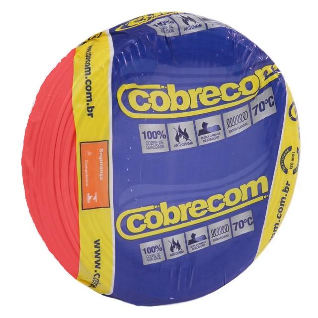 CABO 2,5MM² 750V FLEXICOM PEÇA COM 50 METROS VERMELHO COBRECOM