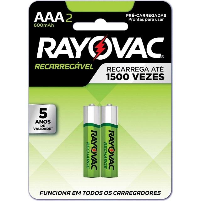 PILHA PALITO RECARREGÁVEL AAA 2A 1,2V CART.C/2 55902 RAYOVAC
