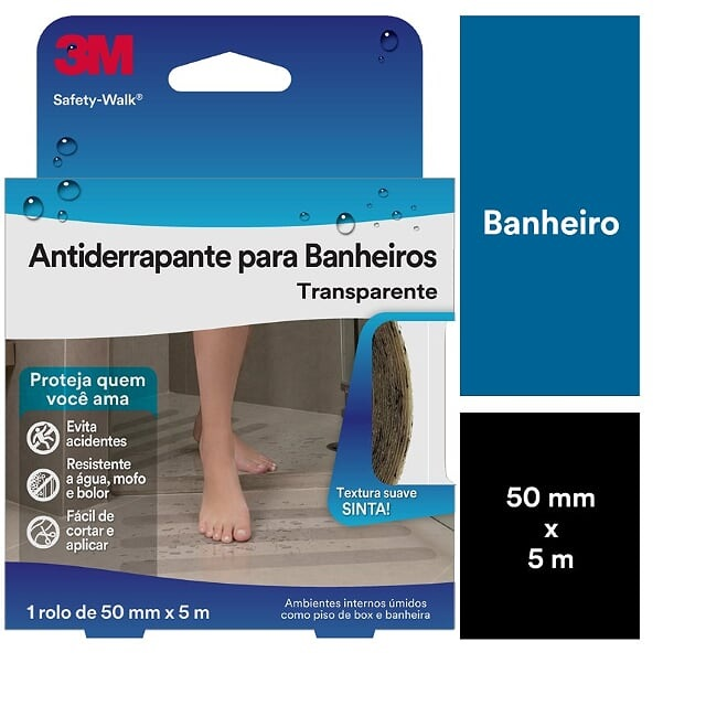 FITA ANTIDERRAPANTE TRANSPARENTE ÁREAS ÚMIDAS 50MMX5M SAFETY-WALK 3M