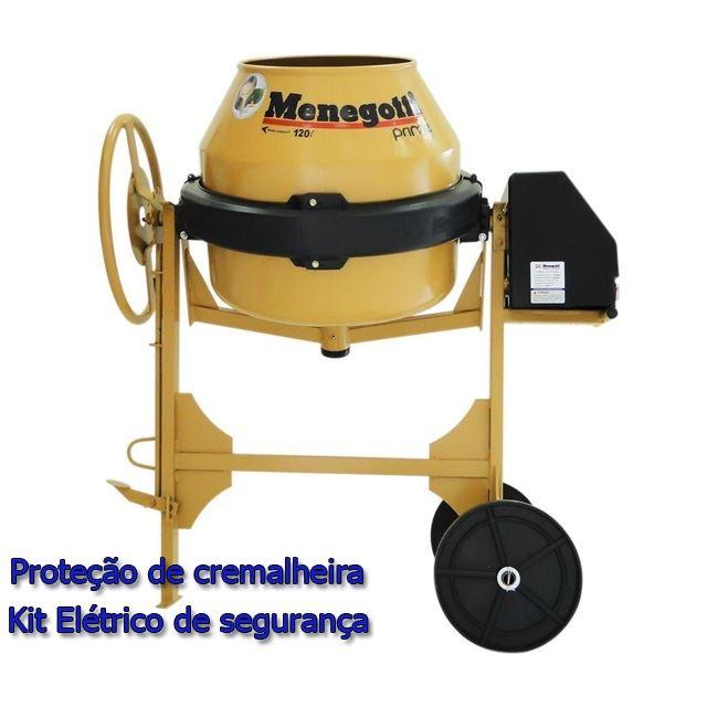 BETONEIRA 120L PRIME 1/2CV 220V COM PROTEÇÃO DE CREMALHEIRA E KIT ELÉTRICO DE SEGURANÇA 40011643 MENEGOTTI
