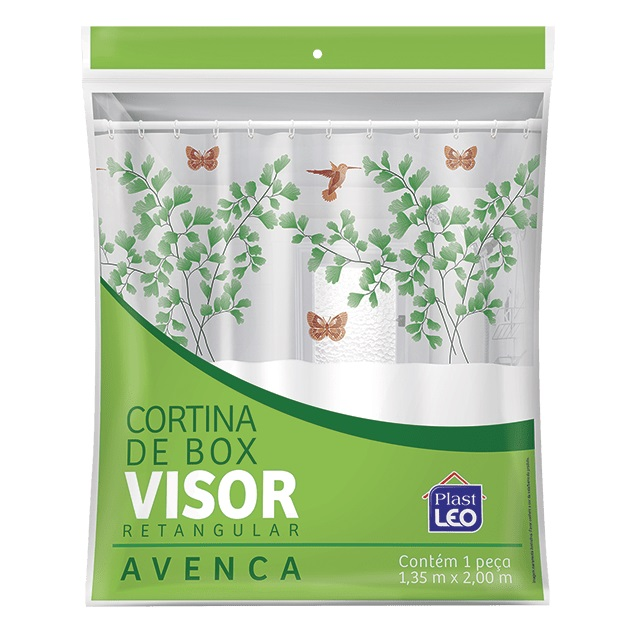 CORTINA PARA BOX EM VINIL LISA 1,35X2M COM VISOR RETANGULAR ESTAMPADO AVENCA E GANCHOS REF.620/A PLAST LEO