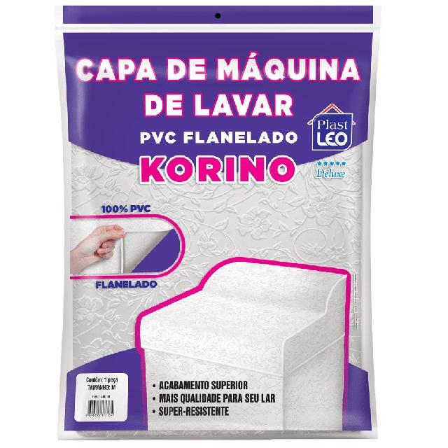 CAPA PARA MÁQUINA DE LAVAR EM PVC FLANELADA KORINO LISA-ESTAMPADA TAM.P 57X63X91CM REF.741/P PLAST LEO