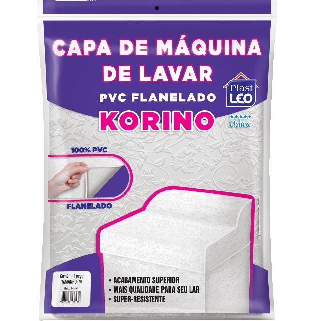 CAPA PARA MÁQUINA DE LAVAR EM PVC FLANELADA KORINO LISA-ESTAMPADA TAM.M 62X65X91CM REF.741/M PLAST LEO