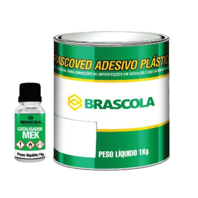 ADESIVO PLASTICO BRASCOVED CINZA 1KG COM CATALIZADOR BRASCOLA