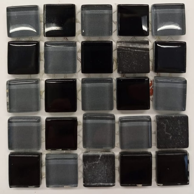 PASTILHA DE VIDRO TOP STONE GLASS 1,5 X 1,5 CM TELA 30X30 CM CARBONO POINTER