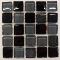 PASTILHA DE VIDRO TOP STONE GLASS 1,5 X 1,5 CM TELA 30X30 CM CARBONO POINTER