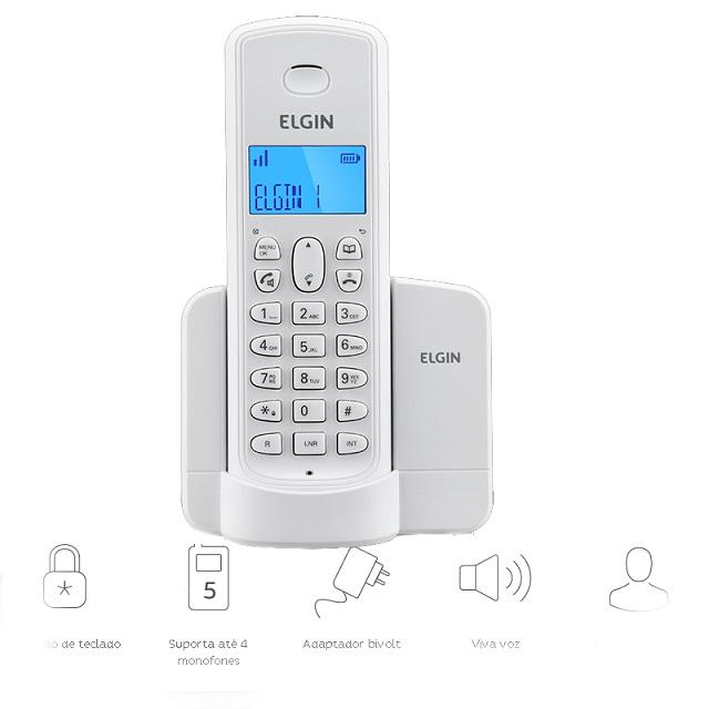 TELEFONE SEM FIO 1.9GHZ(ID.CHAM)TSF-8001 BR ELGIN