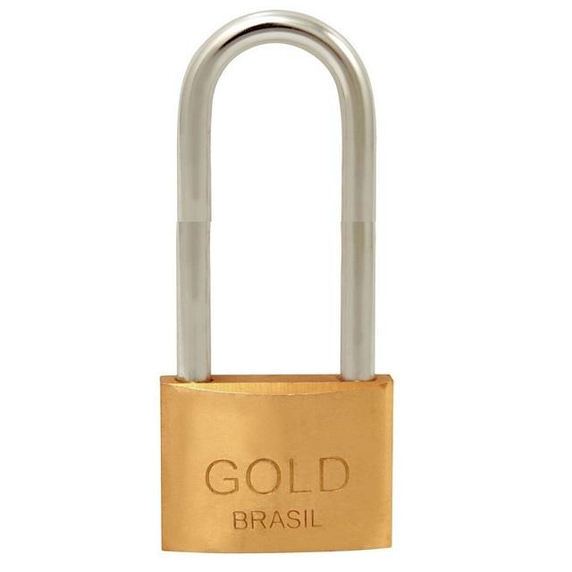 CADEADO LATÃO HASTE LONGA(50MM)50MM  GOLD